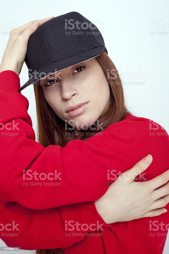 She's got a hip hop swagger stock photo