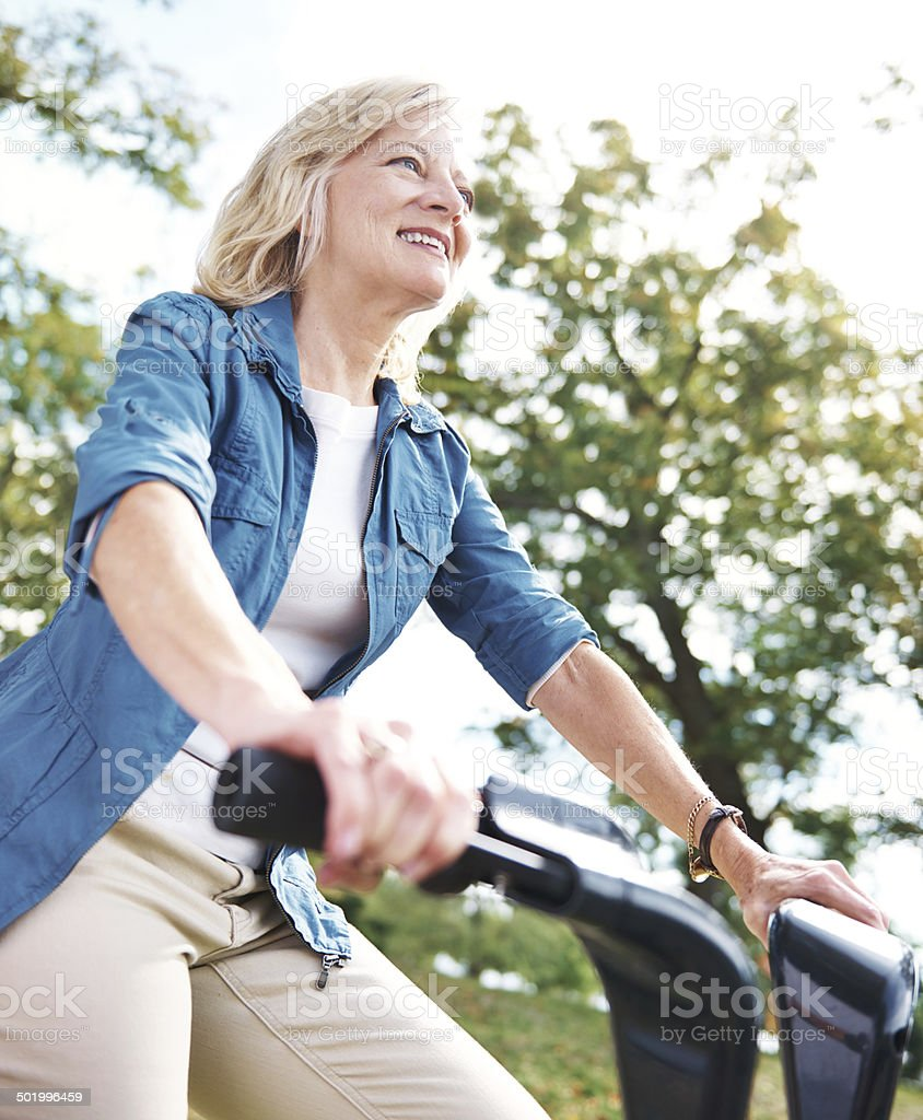 She's got a hobby that keeps her fit stock photo