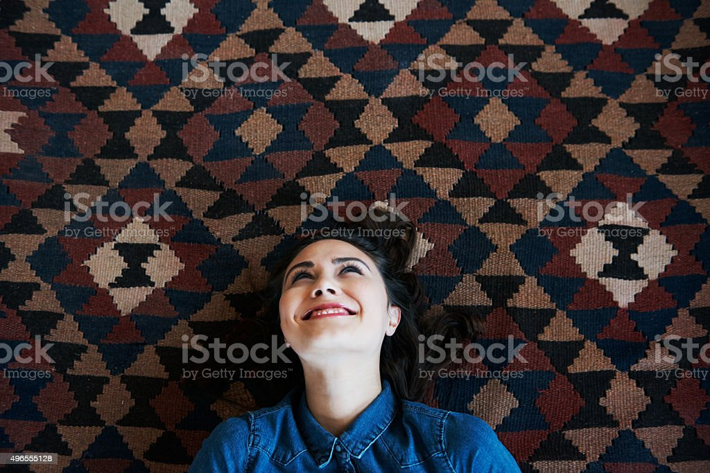 She's got a lot on her mind stock photo