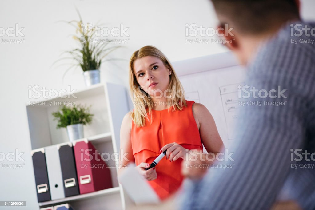 She's got a plan that everyone can agree with stock photo