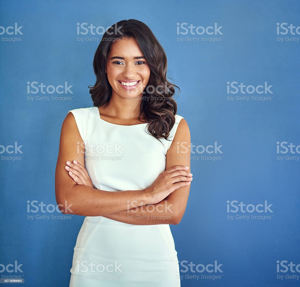 She's got all the attributes of a successful professional stock photo
