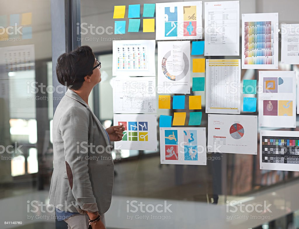 She's got all the information she needs stock photo