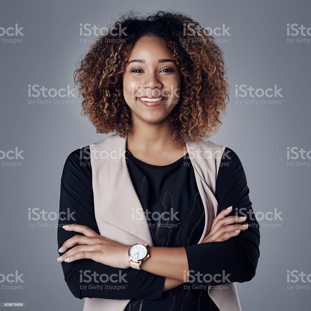 She's got all the makings of a successful entrepreneur stock photo
