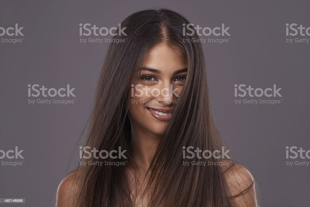 She's got great hair and an even better smile! stock photo