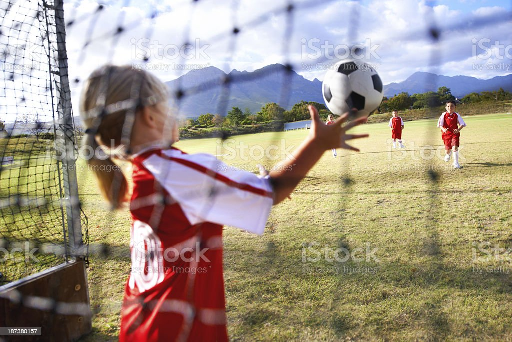She's got great hand eye coordination royalty-free stock photo