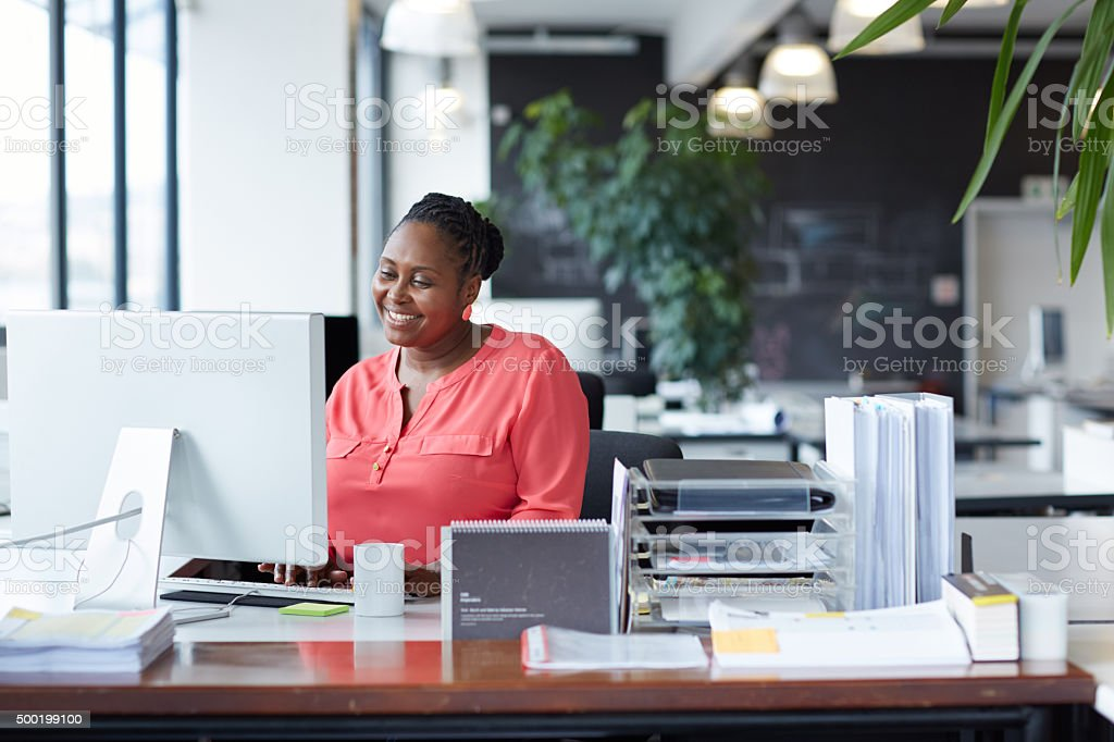 She's got great work ethic stock photo
