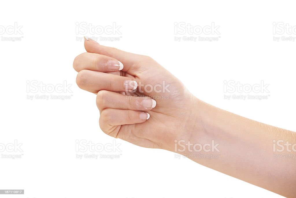 She's got her hand out for the best new treatments royalty-free stock photo
