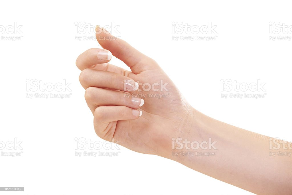 She's got her hand out for the best skin treatments royalty-free stock photo