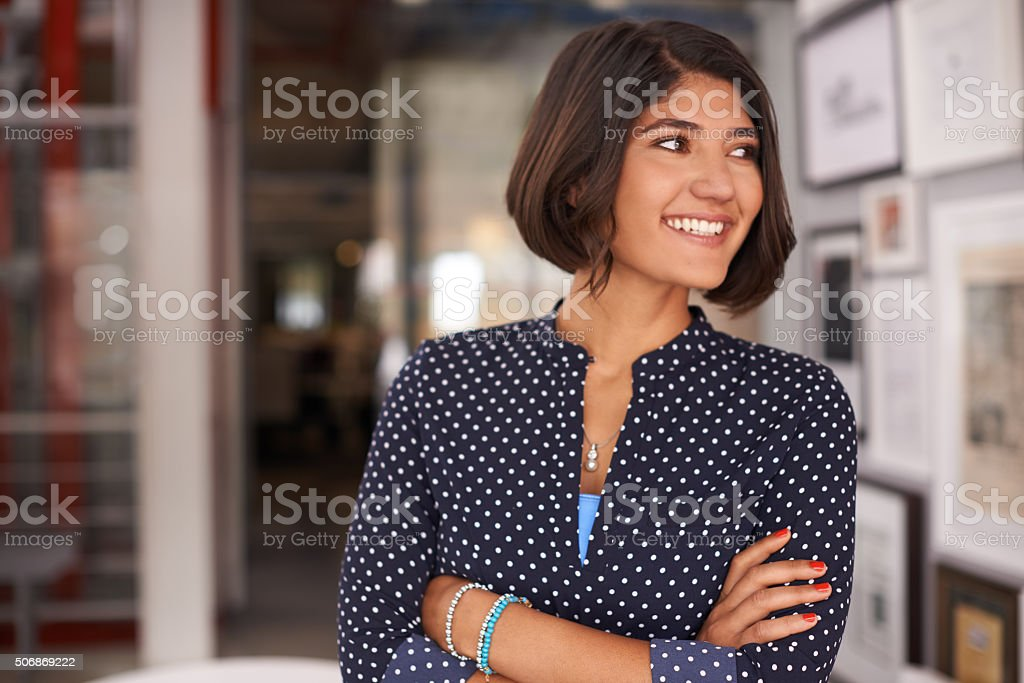 She's got her mind set to make things happen stock photo