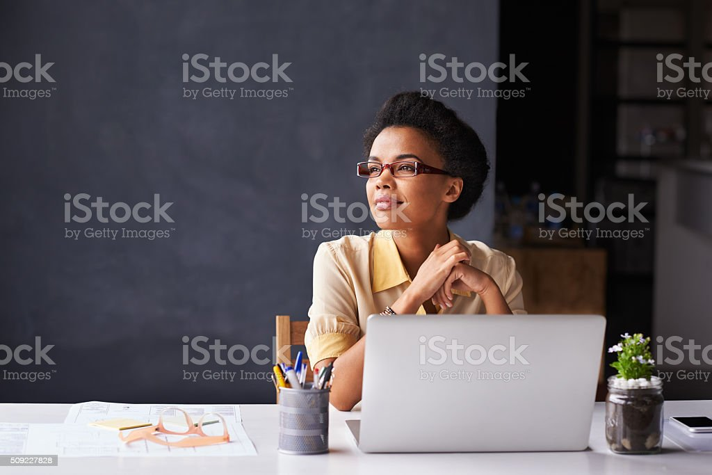 She's got her sights set on success stock photo