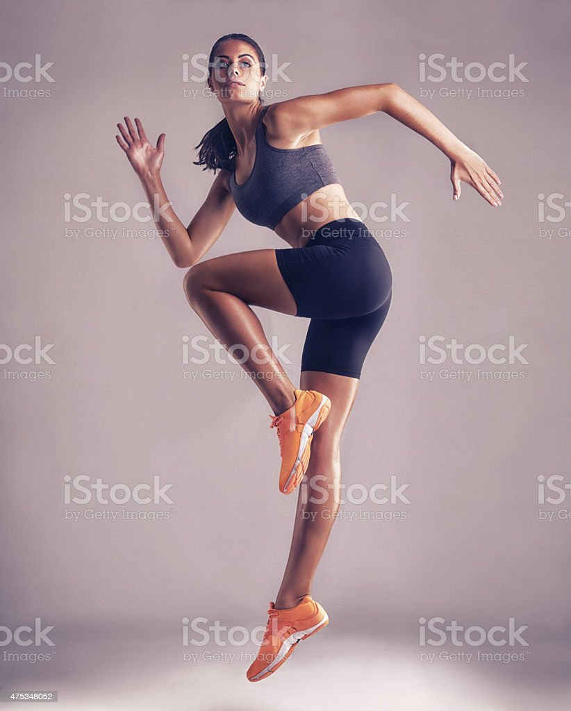 She's got perfect technique stock photo