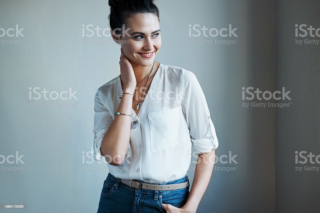 She's got style and a pretty smile stock photo