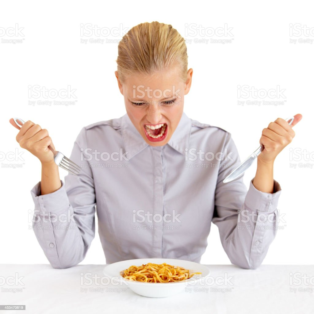 She's got that fierce hunger stock photo