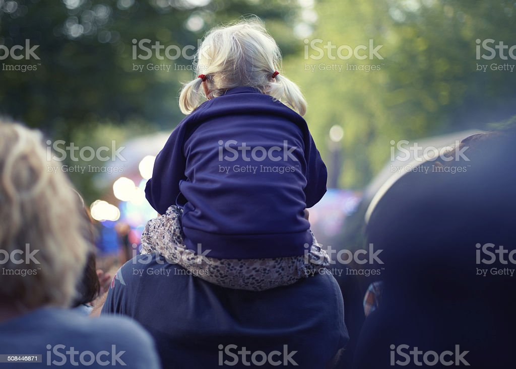 She's got the best seat in the house! stock photo