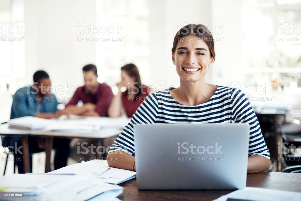 She's got the dedication to make it work stock photo