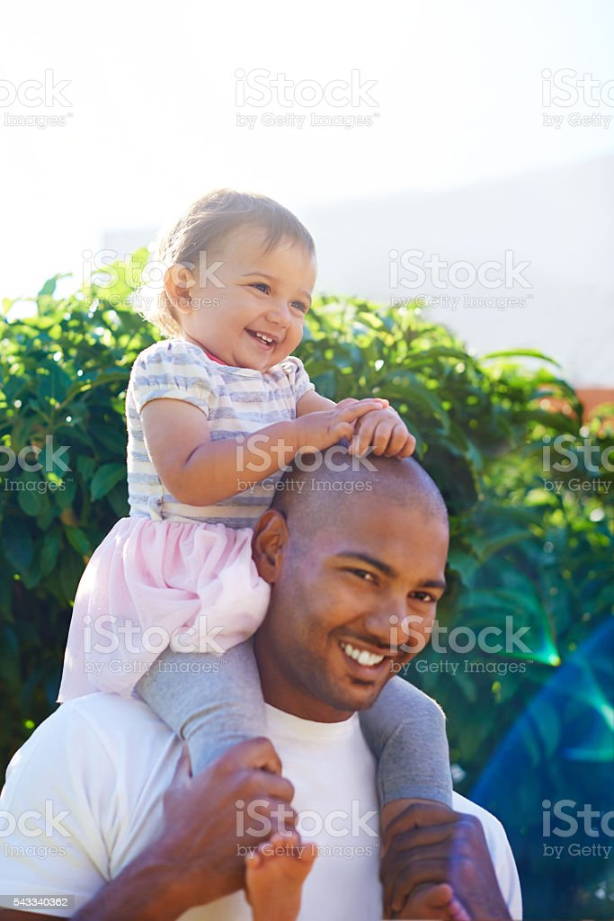 She's her dad's little princess stock photo