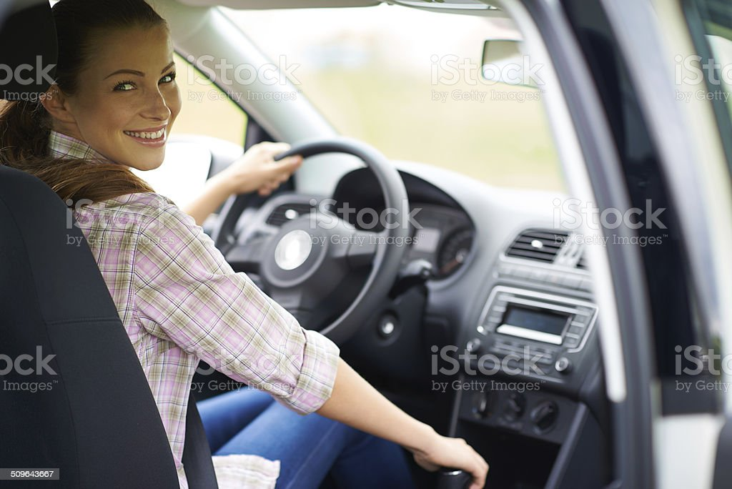 She's in travel mode stock photo