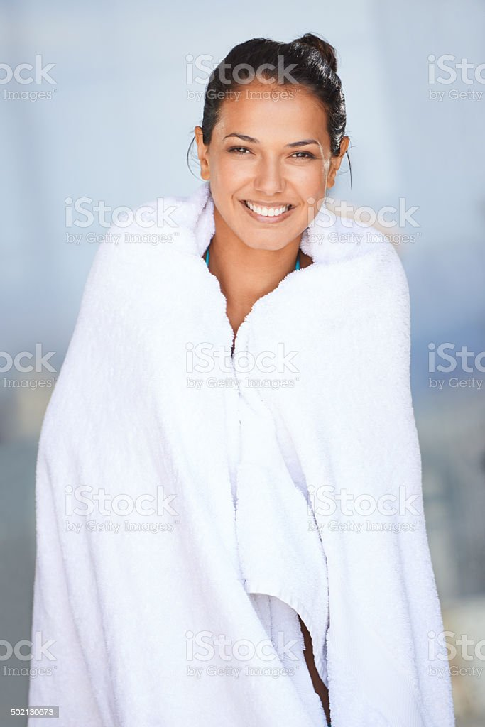 She's just had the most amazing swim stock photo