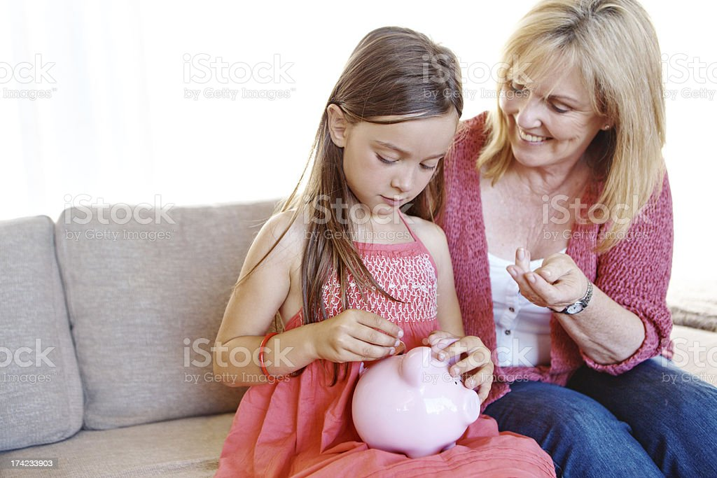 She's learning how to save royalty-free stock photo