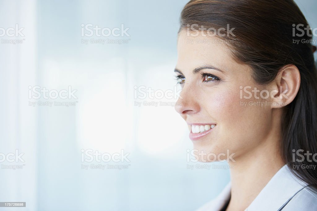 She's looking forward to her future royalty-free stock photo