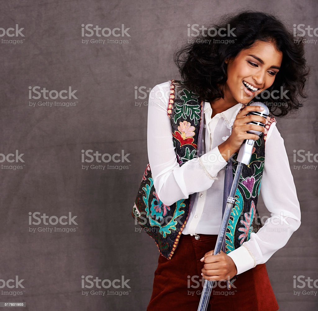She's not singing the blues! stock photo