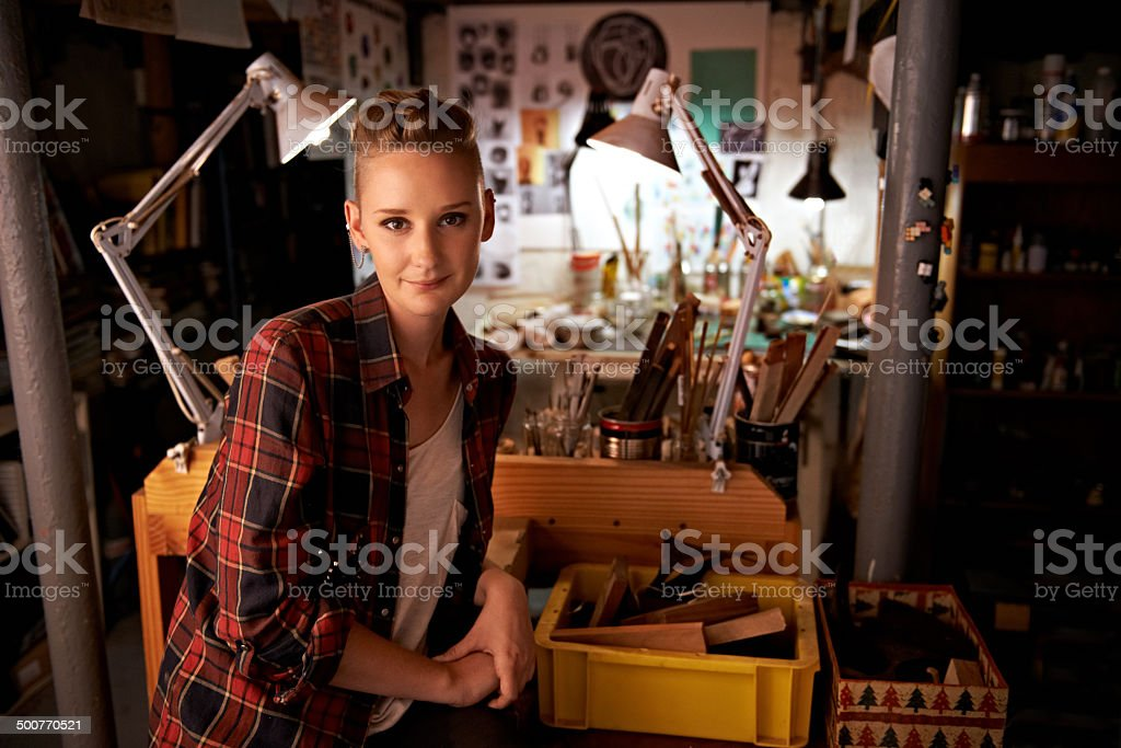 She's proud of what she can make stock photo