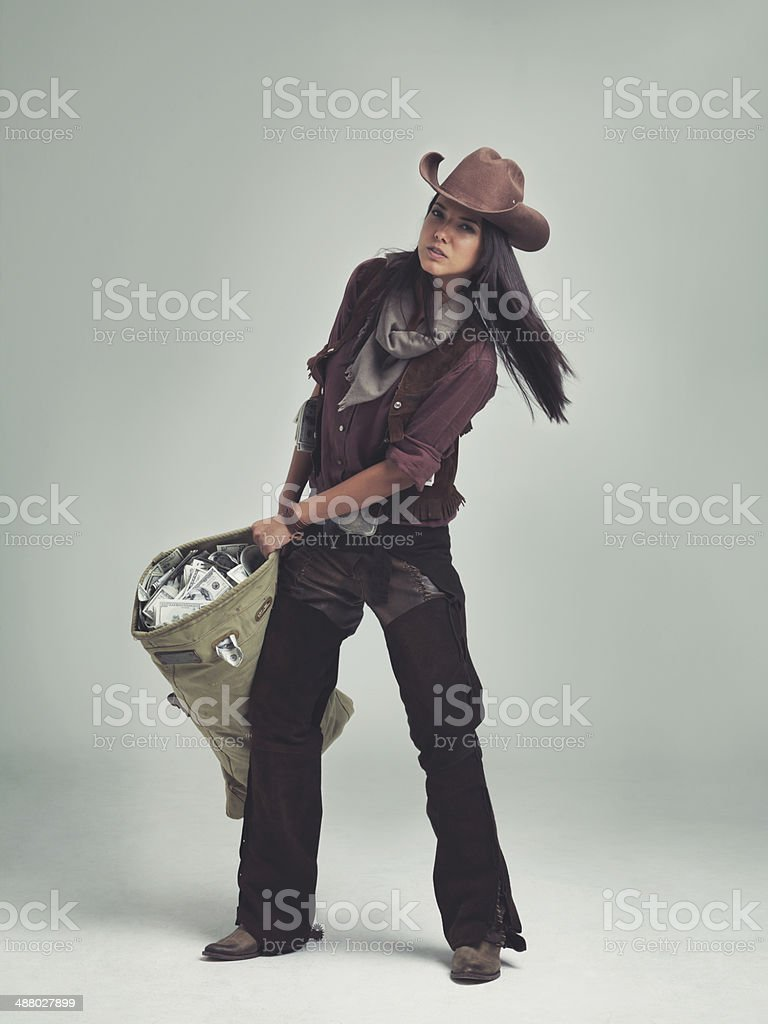 She's putting the 'Wild' in Wild West! stock photo