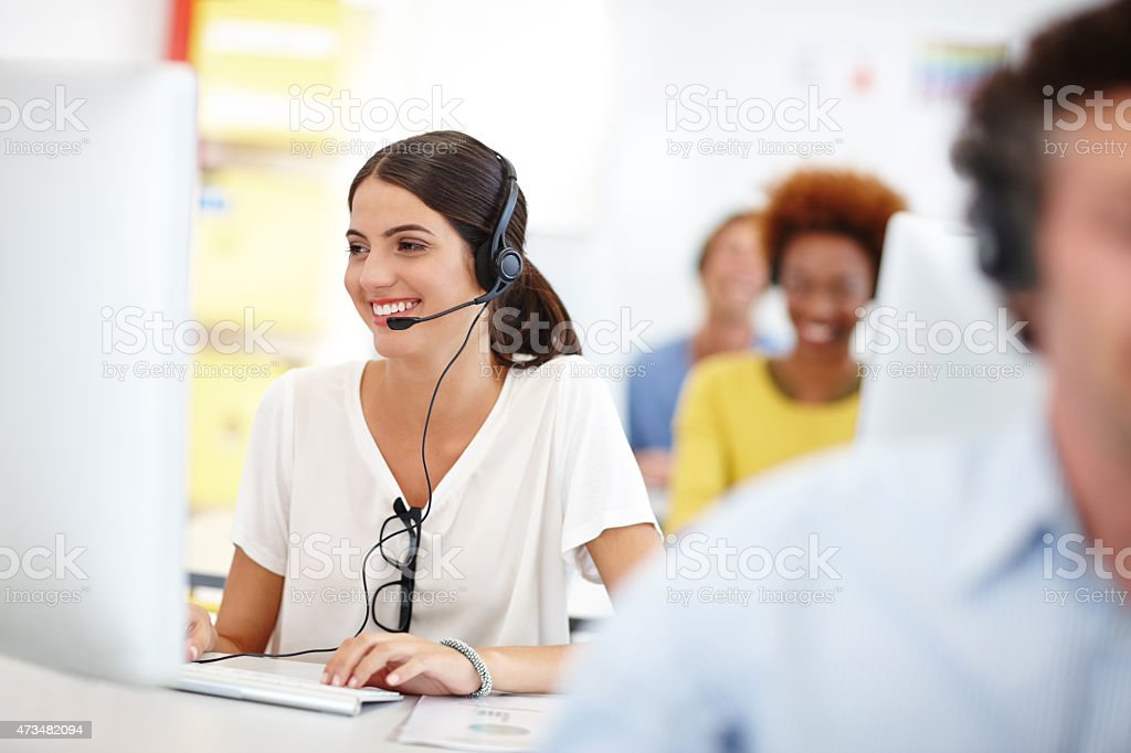She's ready to assist stock photo