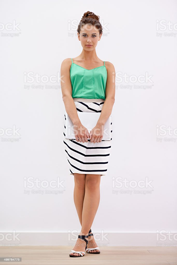 She's seriously confident stock photo