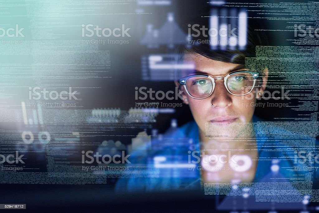 She's the best programmer around stock photo