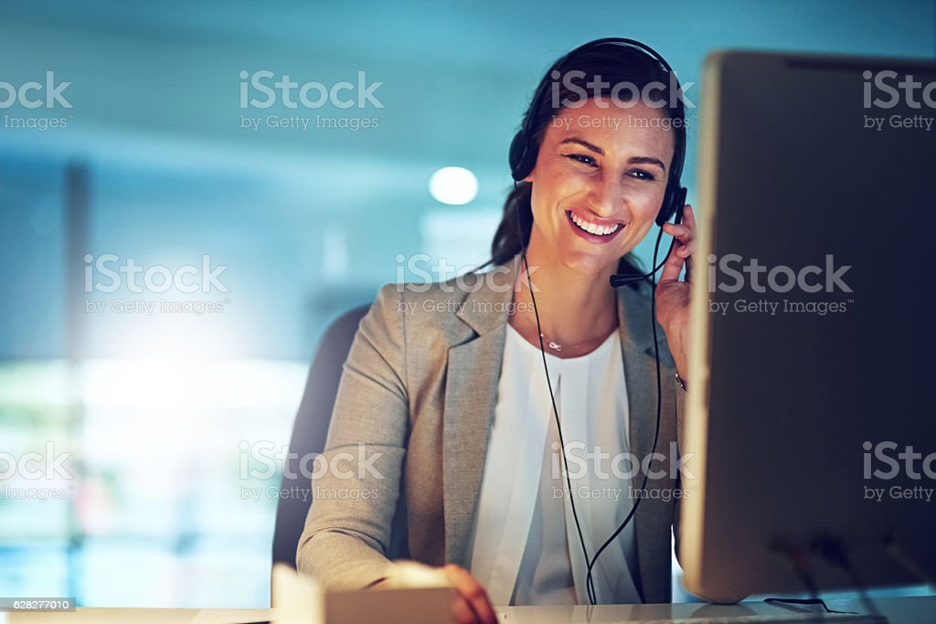 She's the voice of the business stock photo