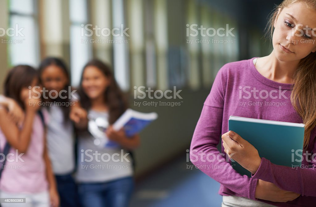 She's victim of bullying stock photo