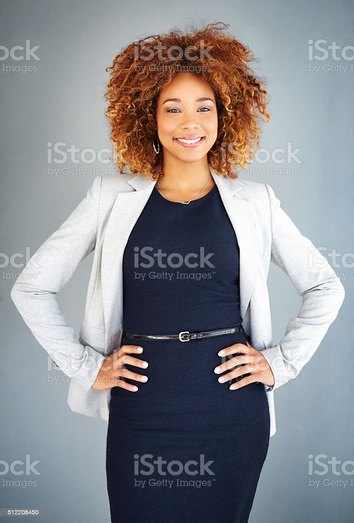 She's wearing self confidence stock photo