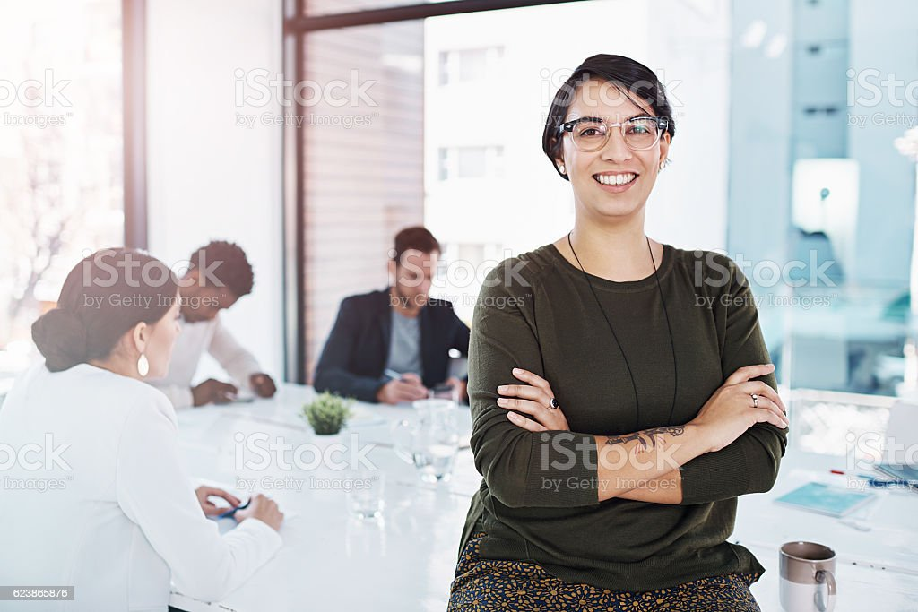 She's worthy of being followed stock photo