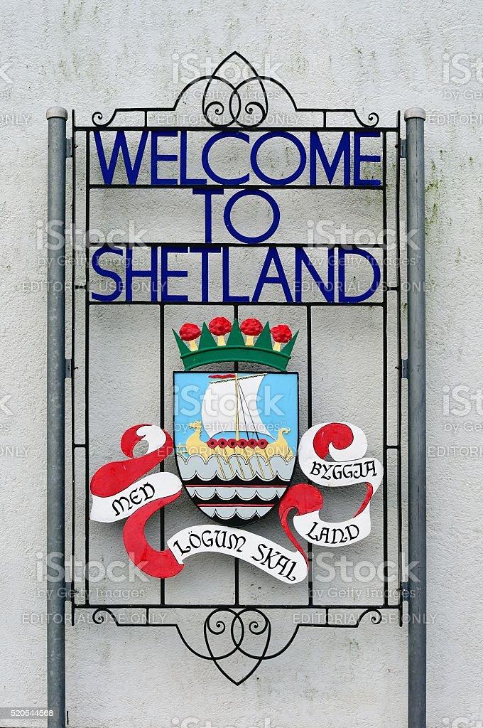Shetland Islands Sign stock photo