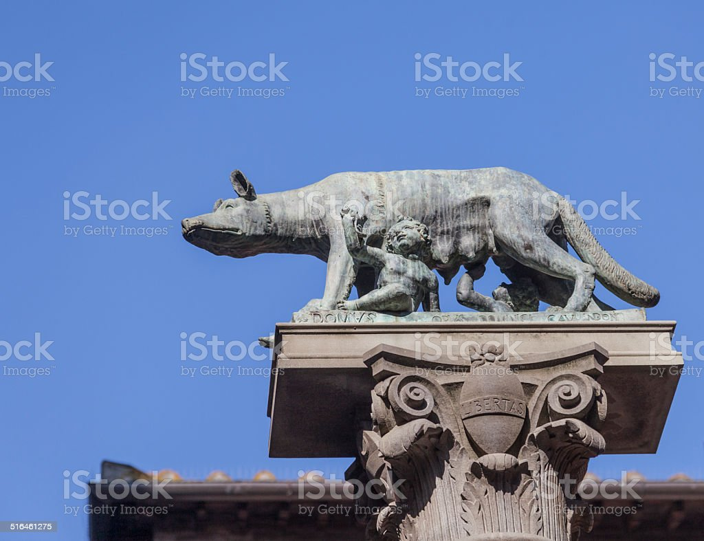 She-wolf suckling Romulus and Remus, Siena, Italy stock photo