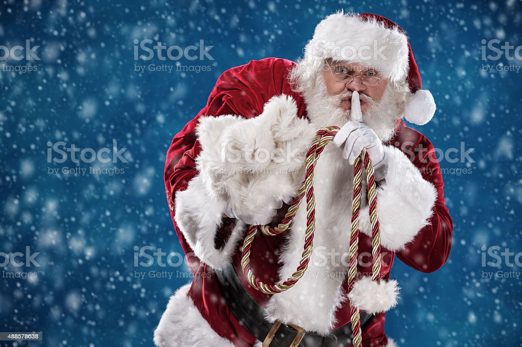 Shh Real Santa Finger to Lips in Snow stock photo