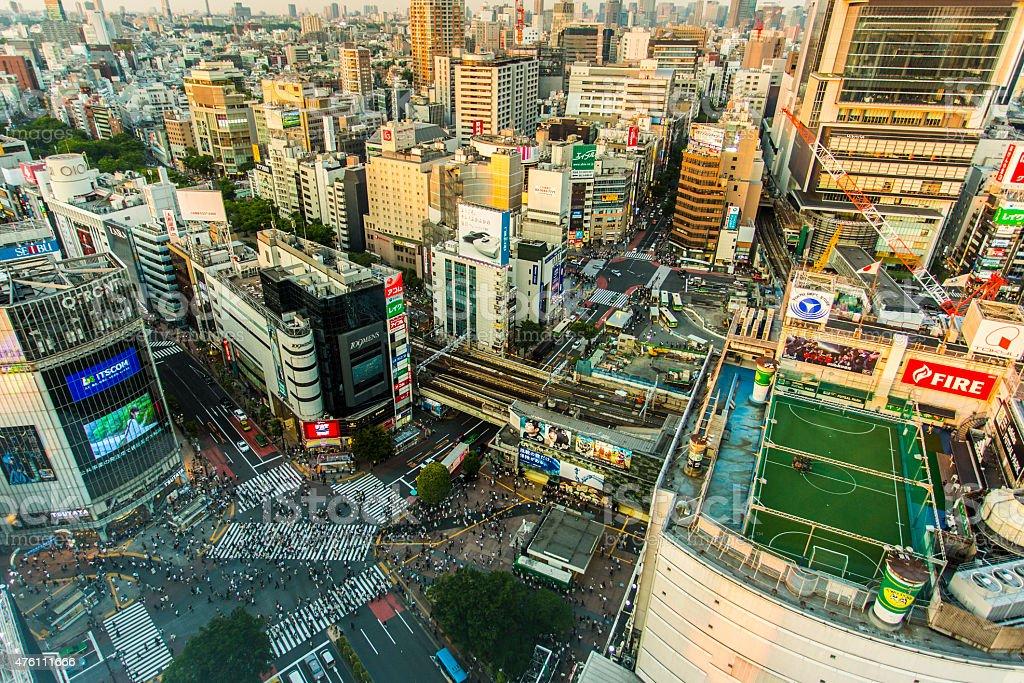 Shibuya Crossing Aerial Panorama stock photo