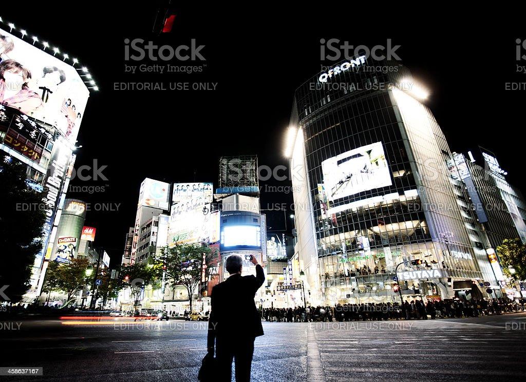 Shibuya crossing at night royalty-free stock photo