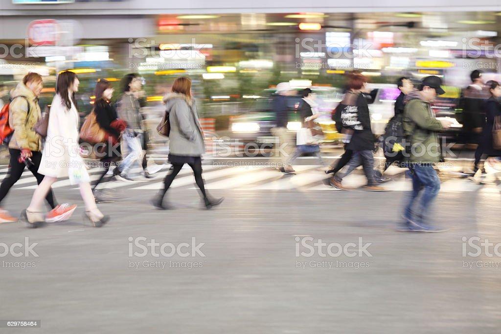 Shibuya crossing at night stock photo