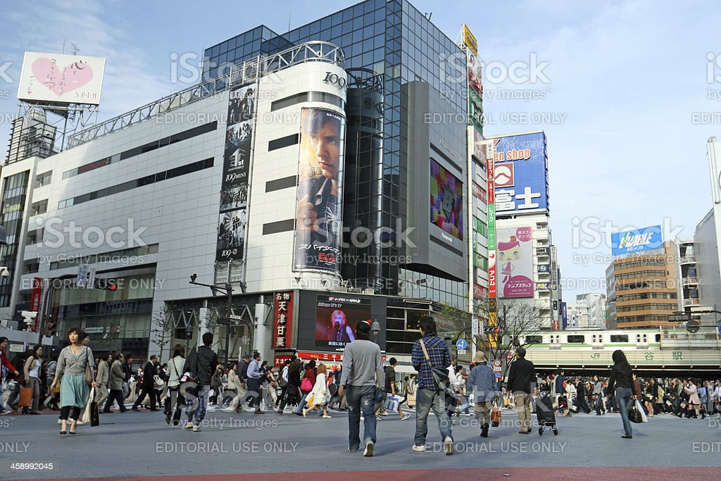 Shibuya crossing full of pedestrians stock photo