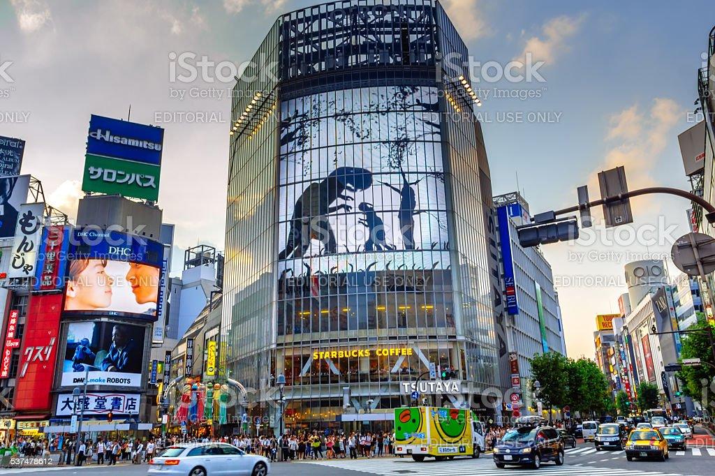 Cruzamento de Shibuya, um dos mais movimentados do mundo, Tokio. O Japão foto royalty-free