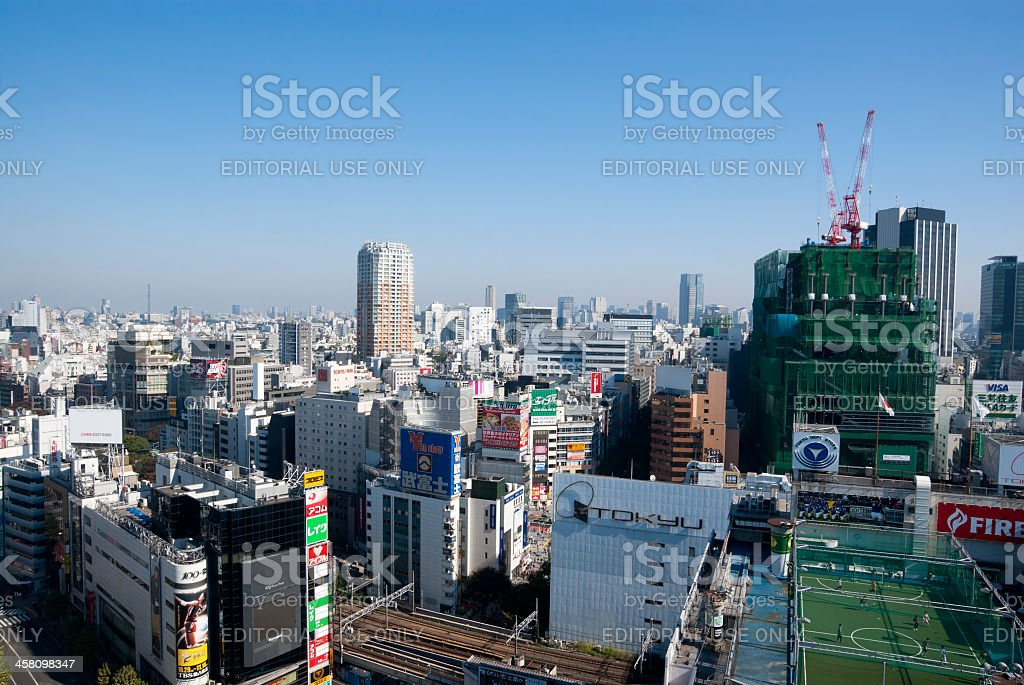 Shibuya Station of Tokyo, Japan on a sunny day stock photo