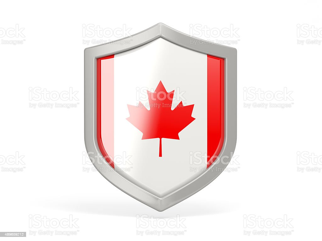 Shield icon with flag of canada stock photo