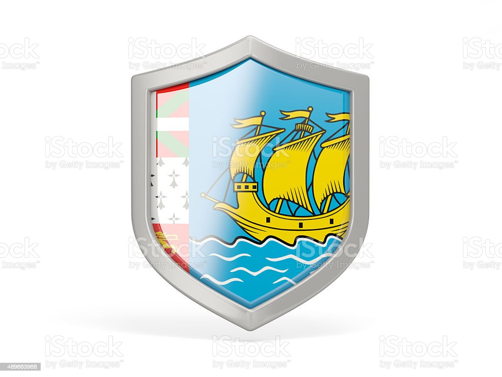 Shield icon with flag of saint pierre and miquelon stock photo