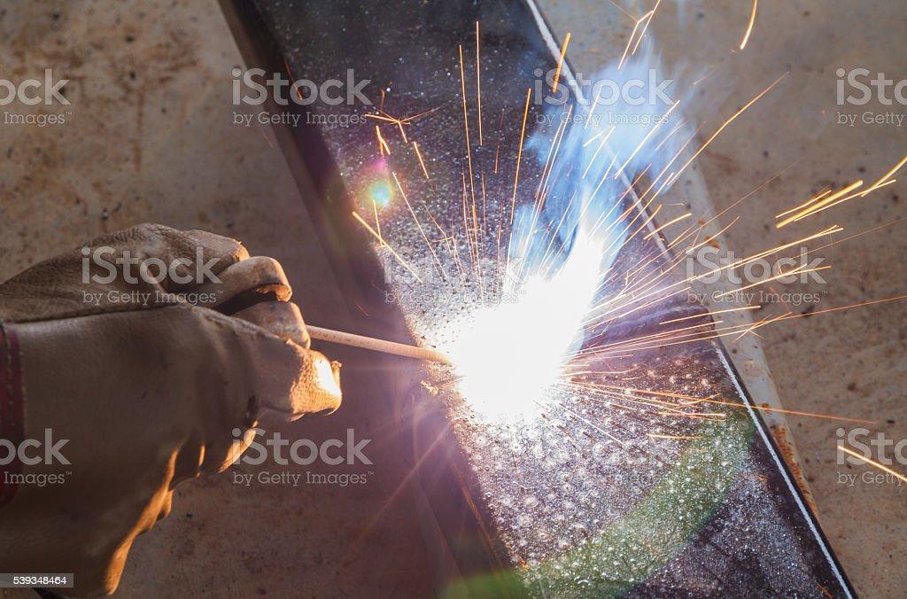 Shield metal arc welding joint steel. stock photo