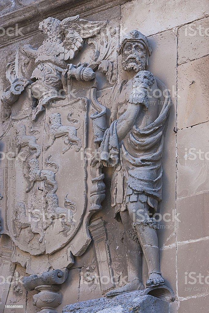 Shield of stone, Ubeda, Jaen province, Spain stock photo