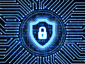 Shield on digital background