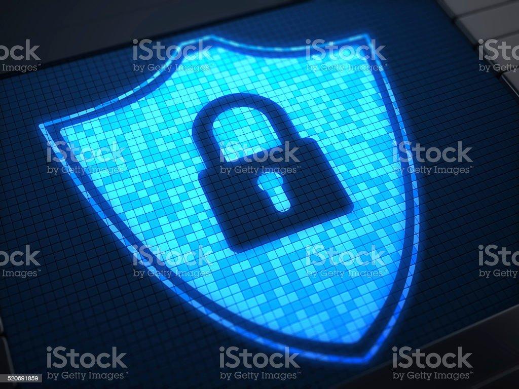 Shield Secure on digital screen stock photo