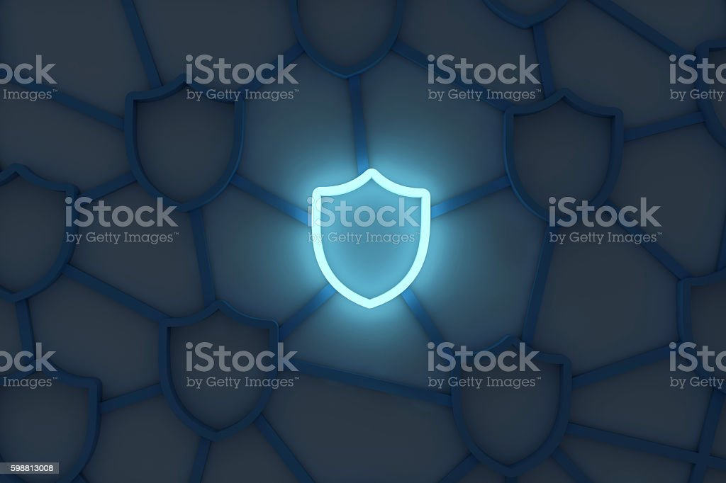 Shield security system stock photo